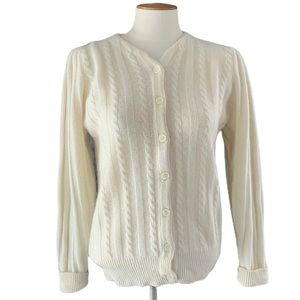 Vintage V-Neck Puff Sleeve Cable-knit Cardigan